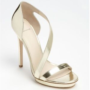 Brian Atwood Consort Silver Sandals Heels Sz 8